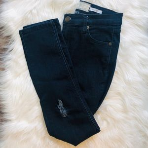 Free People Hi Rise dark wash distressed jeans